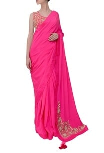 magenta-floral-embroidered-sari