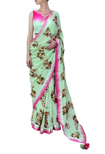 pista-and-fuschia-ombre-floral-printed-sari