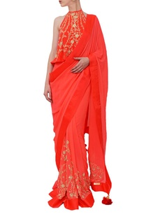 coral-red-embroidered-sari
