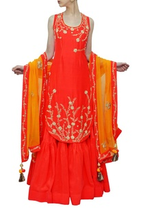coral-red-and-haldi-embroidered-kurta-with-lehenga-dupatta
