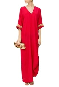 deep-pink-embroidered-cowl-dress