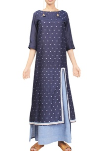 indigo-handwoven-jamdani-tunic-with-light-blue-dress