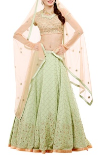 pista-green%c2%a0-peach-embroidered-lehenga-set