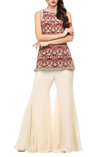 maroon-embroidered-short-kurta-with-cream-palazzos