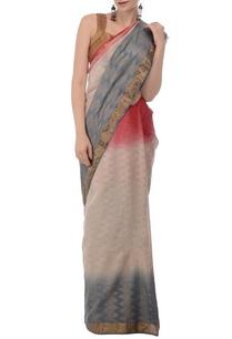 ecru-pale-blue-tussar-silk-sari