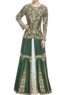 emerald-green-embroidered-kurti-with-flared-skirt