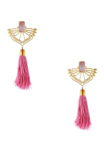 golden-brass-cut-out-statement-earring-with-pink-tassel-detail