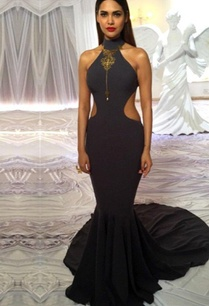dark-grey-high-collared-fishtail-gown-with-open-back