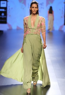 olive-green-pink-embroidered-tunic-jacket-with-wrap-skirt