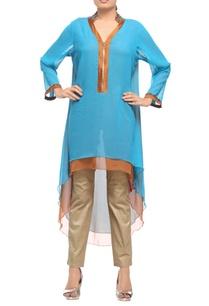 turquoise-blue-brown-satin-embroidered-kurta