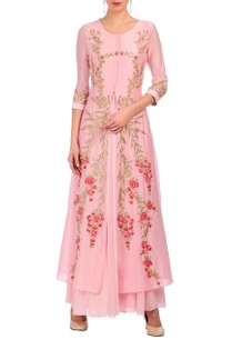 flamingo-pink-floral-embroidered-kurta-set