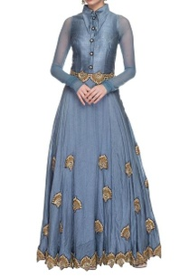 frosted-blue-gold-embellished-collared-dress