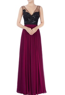 black-purple-sequin-embellished-gown