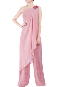 pink-bugle-bead-hand-embroidered-jumpsuit-with-asymmetric-drape-layer