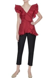 red-taffeta-overlapping-frill-wrap-blouse