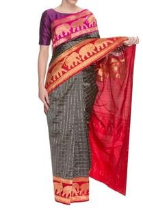 grey-handwoven-sari-with-elephant-motifs