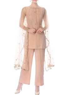 dusky-pink-kurta-pants-with-embroidered-cape