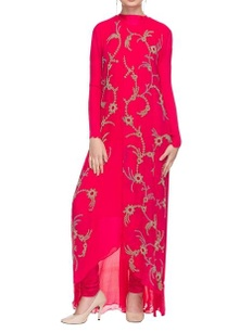 hot-pink-embellished-kurta-with-churidar