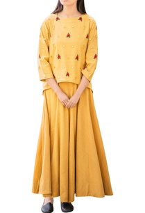 yellow-mirror-work-dress-with-top