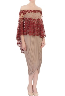 taupe-draped-dress-resham-work-cape