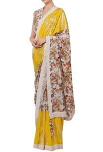 crepe-silk-sequin-floral-hand-painted-sari-set