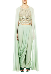 aqua-embroidered-cape-blouse-with%c2%a0draped-trousers