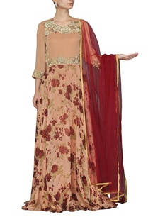 rose-gold-maroon-printed-anarkali-set