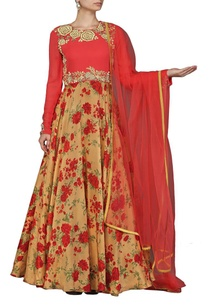 deep-pink-and-beige-rose-printed-anarkali-set