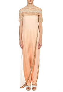 off-shoulder-peach-embroidered-layered-jumpsuit