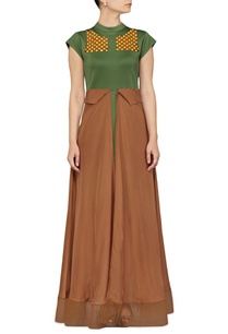 olive-and-brown-layered-dress