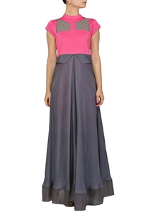 bubblegum-pink-and-grey-layered-dress