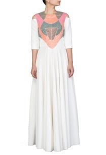 white-flared-dress-with-peach-embellished-yoke