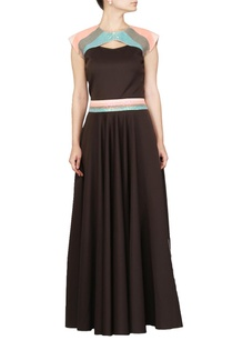 dark-brown-flared-sequin-embellished-dress