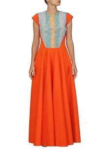 orange-and-blue-sequin-embellished-dress