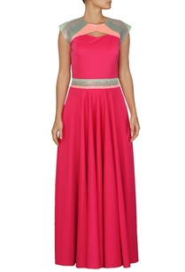 fuschia-flared-sequin-embellished-dress