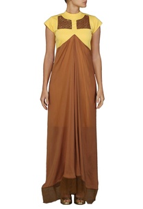canary-yellow-and-brown-layered-dress