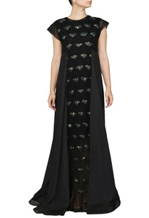 black-sequinned-layered-dress