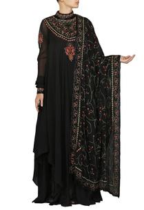 black-embroidered-anarkali-kurta-with-churidar-dupatta