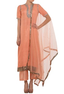 peach-embroidered-kurta-set