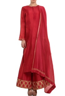 red-gota-embroidered-kurta-set