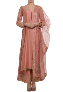 peach-mukaish-embroidered-kurta-set