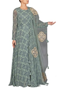 rusty-green-and-navy-blue-printed-anarkali-set