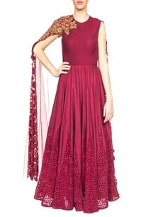 maroon-embroidered-anarkali-with-draped-dupatta