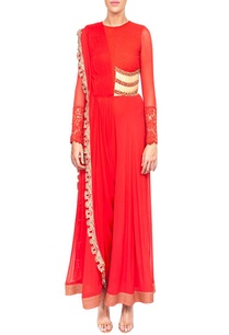 red-embroidered-draped-jumpsuit