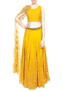 mustard-lehenga-with-quilted-crop-top
