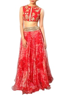pink-printed-lehenga-with-red-crop-top