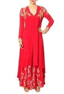 fuschia-embellished-kurta-with-printed-palazzos