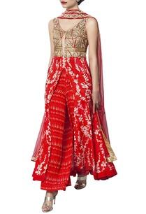 red-printed-and-embellished-kurta-set