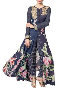 navy-blue-floral-printed-silk-kurta-with-palazzos