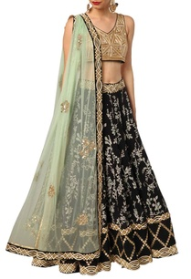 black-printed-and-gold-embellished-lehenga-set
